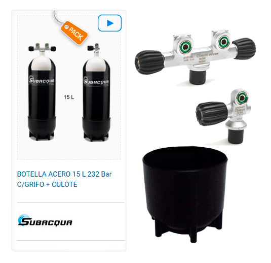 Botella Acero Buceo Subacqua 15l