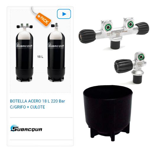 Botella Acero Buceo Subacqua 18l